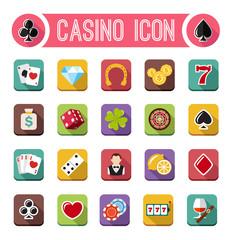 Vector casino flat icons, slot machine