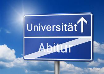 Universität Abitur Studenten Schild