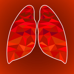 Lungs human from  geometric 3D triangles. Vector illustration
