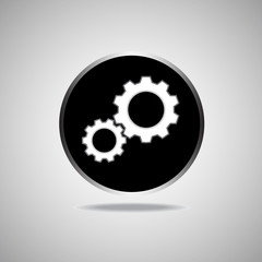 Gear Icon on round black background. Vector illustration. Eps 10