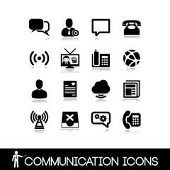 Communication icons - Black vectors set 10