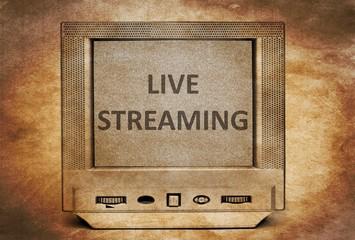 Live streaming  sign on vintage TV