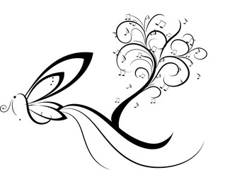 Fantasia musicale con farfalla e albero delle note