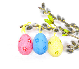 Happy Easter. Pussy-willow and colorful eggs .