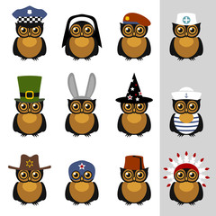 Owls with hats and caps