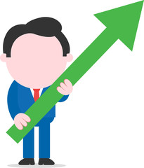 Businessman holding green arrow angled