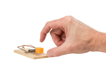 Hand Reaching for Cheese in a Mousetrap