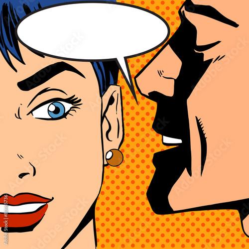 man whispers girl Pop art vintage comic - 80465736