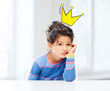bored little girl with crown doodle over head