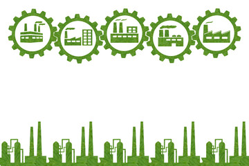 Idea icon Industrial  concept.(Create from green leaf)