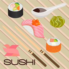 Seafood sushi , roll and chopsticks