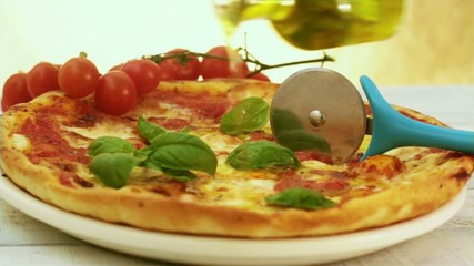 pizza with hot olive oil seasoning