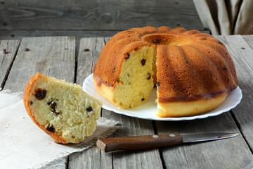 Homemade cake with raisins