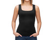 woman in blank black tank top