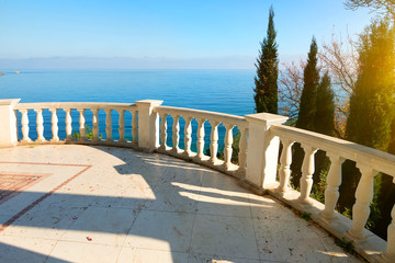 Balustrade near sea
