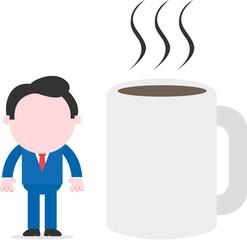 Businessman beside huge coffee mug