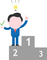 Businessman standing on second place podium