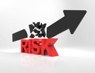 risk 3d word and broken arrow