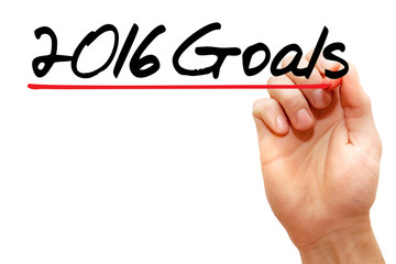 Hand writing 2016 Goals with marker, business concept