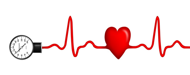 ECG with sphygmomanometer and shape of heart
