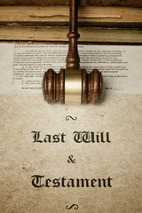 Gavel over Last Will and Testament document