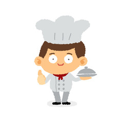 Young chef cartoon stye - freehand drawing vector illustration