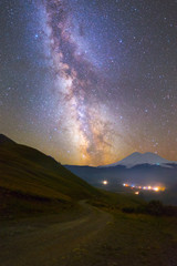 Milky Way over mountain road