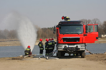 Fire brigade during exercise.