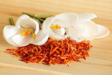Saffron spice and flower crocus