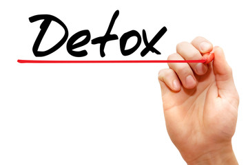 Hand writing Detox with marker, health concept