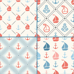 Seamless vector pattern set of anchor, sailboat shape in frame