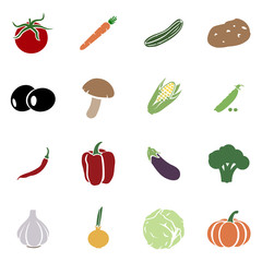 Vector Set of Vegetables Icons