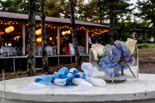Keuken foto achterwand Hydrangea Closeup of flowers and candles during wedding celebration in a g