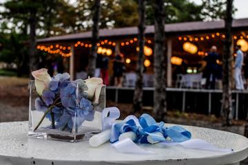 Wedding decoration during outside celebration, closeup shot
