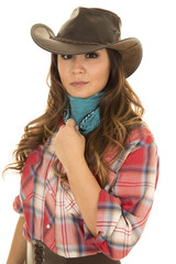 cowgirl red plaid shirt close touch bandana