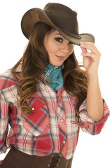 cowgirl red plaid shirt smile touch hat