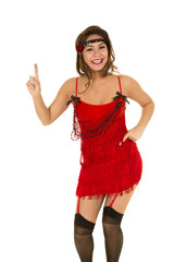 flapper girl in red finger up