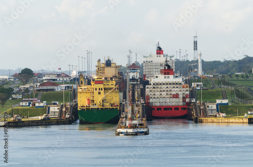 Cargo Ship in Panama Canal - 80469579