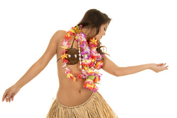Hawaiian woman coconut bra dance look side