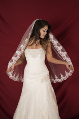 woman in wedding dress front veil out eyes closed
