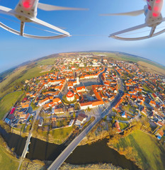 Aerial view from drone to small town in Czech Republic.