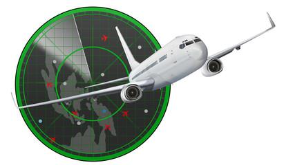 Passagierflugzeug mit Radar, freigestellt