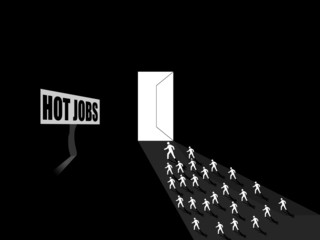 people running for hot jobs, employement concept