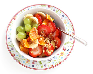 Breakfast with fresh fruit salad