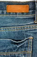 Jeans with leather label and pocket