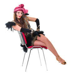 sexy woman in retro dress on a chair