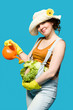 canvas print picture - Pregnant woman and her belly as cabbage