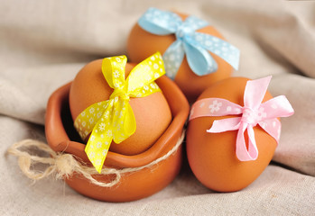 Easter eggs on a linen fabric