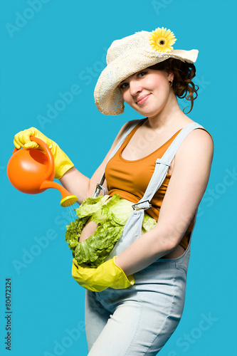 canvas print picture Pregnant woman and her belly as cabbage