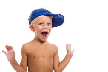 Happy Boy. Isolated Over White Background. Kid Having Fun. Summe